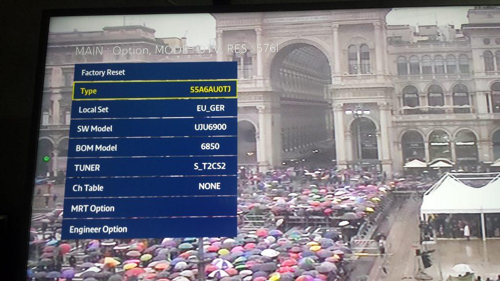 Menu service Samsung TV |